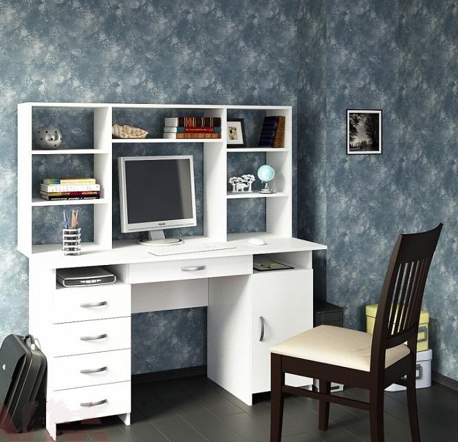 стол письменный компьютерный с надстройкой милан 7я белый